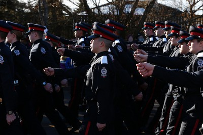 during the funeral procession for RCMP Const. David Wynn in St. Albert, Alta., on Monday, Jan. 26, 2015. The full regimental regimental funeral is being held at Servus Place in St. Albert. Wynn was killed in a shooting on Jan. 17, 2015 while attempting an arrest at Apex Casino. Ian Kucerak/Edmonton Sun/ QMI Agency