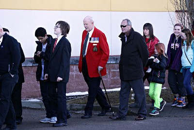 People line up at Servus Credit Union Place for the regimental funeral for slain RCMP officer Cst. David Wynn in St. Albert, Alta., on Monday, Jan. 26, 2015. Codie McLachlan/Edmonton Sun/QMI Agency