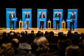 Ontario PC leadership candidates Vic Fedeli, left, Christine Elliott, Lisa MacLeod, Monte McNaughton and Patrick Brown take part in a debate at the London Convention Centre on Monday. (CRAIG GLOVER, The London Free Press)