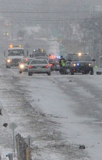 Police in Hamilton have closed a section of Hwy. 6 after a deadly three-car collision on Tuesday, Jan. 27, 2015. (ANDREW COLLINS/Special to the Toronto Sun)