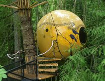<b>Free Spirit Spheres, British Columbia:</b> A stay in a treehouse like no other! The Free Spirit Spheres in the rainforest of Vancouver Island are available for overnight stays year-round. There is a bed and space for sitting inside each sphere, as well as electricity and speakers for music. Guests rock softly with the wind in the trees during their stay. (Courtesy Tom Chudleigh/Free Spirit Spheres)