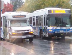 <p>Two buses arrive downtown. Cornwall Transit is applying for grants to expand its Handi-Transit system.</p><p>File photo/CORNWALL STANDARD-FREEHOLDER