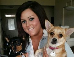 Edmonton Examiner columnist Rayanne Forbes holds her rescue chihuahuas Lola and Beth.