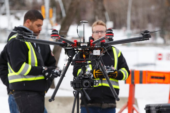 Downtown Edmonton's first drone flight