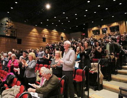 The audience at the Wolf Performance Hall applauds during the 13th annual Brickenden Awards Jan 26, 2015 (Photo c