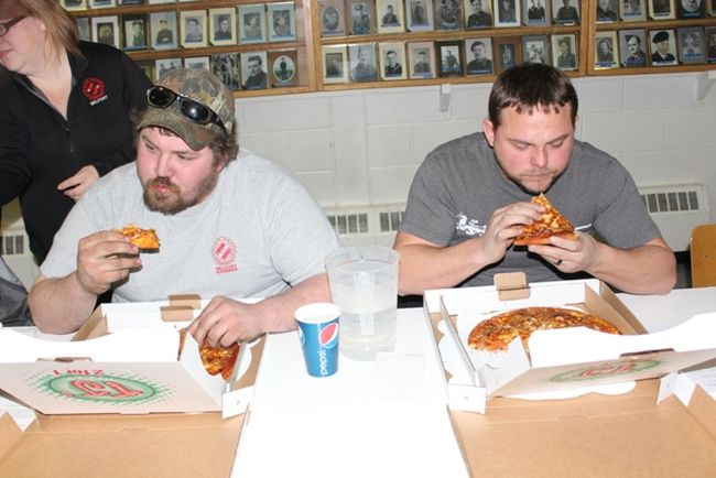 Tyson Waldner and Jesse Ouellett placed first and second at the Telemiracle TJs Pizza Eating Contest on January 27.