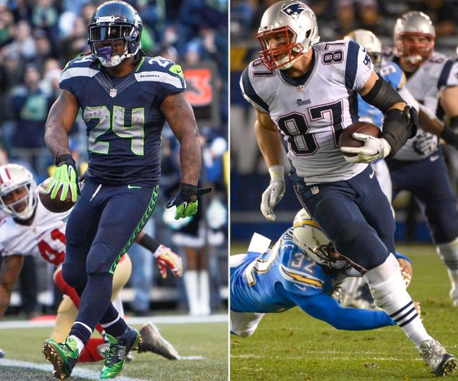 Marshawn Lynch of the Seahawks (left) and Rob Gronkowski of the Patriots (right) are two of the more physically intimidating players set to suit up for the Super Bowl game on Sunday. (USA TODAY Sports/Files)