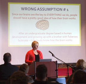 Andrea Gerber speaks about caring for her brain-injured husband at the launch of Year of the Brain 2015 at Parkwood Institute on Wednesday. ?Most people have no idea how their brain works,? she said. (DEREK RUTTAN, The London Free Press)