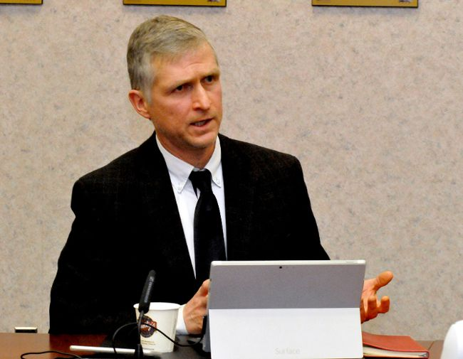 Upper Canada District School Board superintendent David Coombs speaks about the board's newly adopted concussion policy at a school board meeting Wednesday night (ALANAH DUFFY/The Recorder and Times).