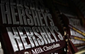 Hershey's chocolate bars are displayed at a gas station in Phoenix, Arizona, in an October 27, 2011 file photo (REUTERS/Joshua Lott)