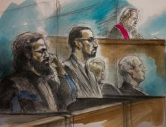 From left, Chiheb Esseghaeir and Raed Jaser listen as Justice Michael Code instructs the jury in University Ave. court Jan. 29, 2015. (Sketch by Pam Davies)