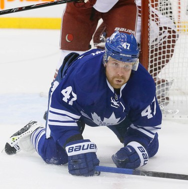 The Toronto Maple Leafs draw first blood on a goal by Phil Kessel in the first period against the Arizona Coyotes in Toronto on Thursday January 29, 2015. Stan Behal/Toronto Sun/QMI Agency