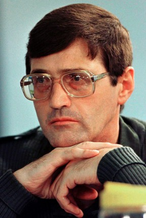 Apartheid death-squad leader Eugene de Kock listens to questions put to him by lawyers at the special public hearing of South Africa's Truth and Reconciliation Commission in Johannesburg in this Jan. 29, 1998 file photo. (REUTERS/Peter Andrews/Files)