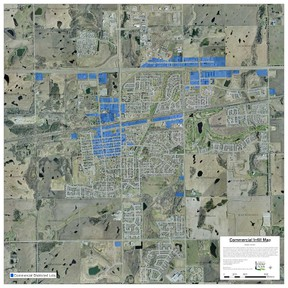 Shaded areas include lands that might qualify for the Town's commercial infill policy. - Image Supplied
