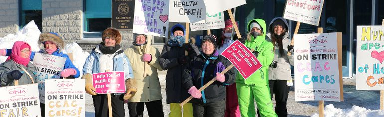 Timmins nurses, members of the Ontario Nurses Association, hit the picket line Friday as they join ONA nurses across Ontario on a strike against Community Care Access Centres. Timmins Times LOCAL NEWS photo by Len Gillis.