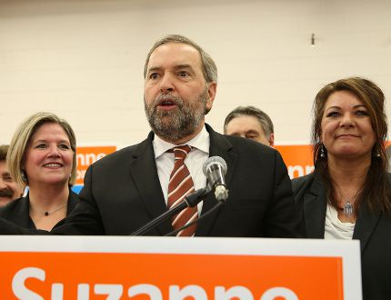 <p>JOHN LAPPA/THE SUDBURY STAR/QMI AGENCY</p><p>Federal NDP leader Tom Mulcair, middle, addresses NDP supporters during a rally for Sudbury NDP candidate Suzanne Shawbonquit in Sudbury, ON. on Friday, Jan. 30, 2015. Looking on is Ontario NDP leader Andrea Horwath, left, and Suzanne Shawbonquit. Michael Layton, son of the late Jack Layton, the former federal NDP leader, also spoke at the rally.