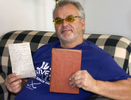 Derek Duhaime, of Elliot Lake, picked up a book at a second-hand store and found he had a mystery on his hands when he opened it up. Inside was an old hand-written letter sent to someone named Eva who lived in Clute, near Cochrane, in 1947. Duhaime says if there is a family member of Eva who wants the letter as a keepsake, he is willing to send both it and book it was preserved in to them.