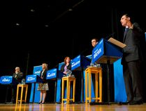 Ontario PC leadership candidates Vic Fedeli, left, Christine Elliott, Lisa MacLeod, Monte McNaughton and Patrick Brown take part in a debate at the London Convention Centre in London, Ont. on Jan. 26, 2015. (Craig Glover/QMI Agency)