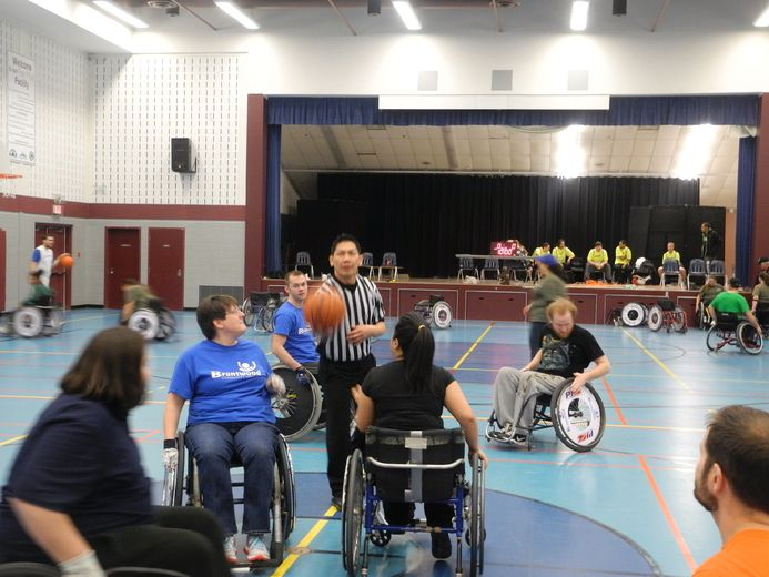 A Brantwood Community Services team vies with the United Way Young Doctors in the 25th anniversary Wheelchair Basketball Tournament in Branlyn Community Centre on Saturday. (Michael-Allan Marion / Expositor staff)