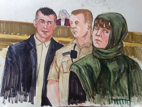 John Nuttall (left) and Amanda Korody (right) are depicted during their terror trial in this courtroom sketch in Vancouver, Feb. 2, 2015. (FELICITY DON/Reuters)