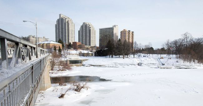 Water runs beneath the Kensington Bridge and into the Forks of the Thames near Ivey Park. Former city councillor Joni Baechler is the local representative on a panel of judges that will choose a winning design to reshape the riverfront. (CRAIG GLOVER, The London Free Press)