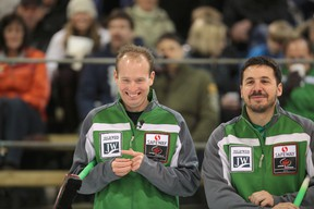Skip Sean Grassie (left) and third Corey Chambers played Jeff Stoughton in the final of the Safeway Championship in 2013.