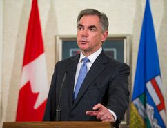 Alberta Premier Jim Prentice takes questions after a Progressive Conservative Party caucus meeting at Government House in Edmonton, Alta., on Wednesday, Jan. 28, 2015. Ian Kucerak/ QMI Agency