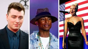(L to R):Sam Smith, Pharrell Williams, and Sia.   (REUTERS)