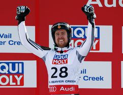Canadian Dustin Cook celebrates after winning the silver medal during the men's Super-G at the world championships in Beaver Creek, Colo. (USA TODAY SPORTS)