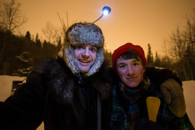 Steve Jodoin (left) and Etienne Fillion perform as voyageurs during the Flying Canoe in Mill Creek Ravine in Edmonton, Alta., on Friday, Feb. 6, 2014. The Flying Canoe Volant is an annual celebration of French Canadian and First Nations culture in the ravine and at La Cite Francophone, which is being held on Feb. 6 -7 this year. Ian Kucerak/Edmonton Sun/ QMI Agency