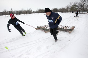 The Ice Donkey Winter Adventure 5km obstacle Challenge took place at the University of Manitoba in Winnipeg today.  The event was a fundraiser for the Children's Hospital Foundation of Manitoba.  Saturday, February  07, 2015.  Chris Procaylo/Winnipeg Sun/QMI Agency