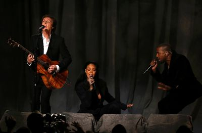 """Paul McCartney, Rihanna and Kanye West (R) perform """"FourFiveSeconds"""" at the 57th annual Grammy Awards in Los Angeles, California February 8, 2015.   REUTERS/Lucy Nicholson"""