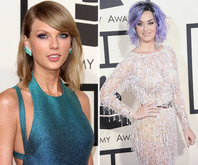 (L-R) Taylor Swift and Katy Perry hit the red carpet at the 2015 Grammy Awards. (WENN.COM photos)