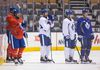 Daniel Winnik (centre), a pending unrestricted free agent, is among those players who is unlikely to be a Maple Leaf past the March 2 trade deadline. (Ernest Doroszuk/Toronto Sun)