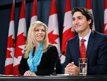 Liberal leader Trudeau and MP Adams take part in a news conference in Ottawa