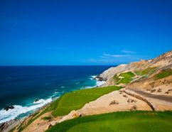 Jack Nicklaus' latest contibution to the golf scene in Los Cabos, Mexico, is Quivira. The stunning clifftop course — pictured is the 180-yard sixth hole — opened in December. Quivira is a private club, but guests at Pueblo Bonito Oceanfront Resorts and Spas can book tee-times. Photo courtesy of Quivira.
