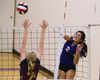 Central?s Camila Rios spikes past the block of Banting?s Amye Pellow during their high school volleyball match at Central secondary school on Thursday. (DEREK RUTTAN, The London Free Press)