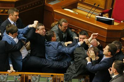 Deputies clash during a session of the parliament in Kiev, April 8, 2014 REUTERS/Valentyn Ogirenko