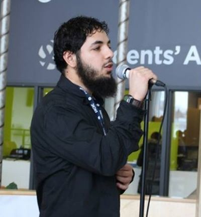 Awso Peshdary speaking at an Algonquin Muslim Student Association event. FACEBOOK pic