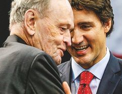 Former prime minister Jean Chretien and Liberal Leader Justin Trudeau were in Mississauga together Sunday to mark the 50th anniversary of the Canadian flag. (DAVE THOMAS, Toronto Sun)