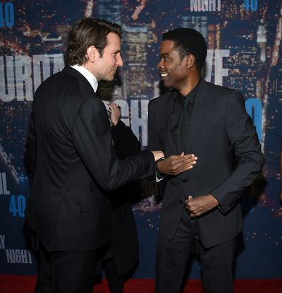 Bradley Cooper (L) and Chris Rock attend SNL 40th Anniversary Celebration at Rockefeller Plaza on February 15, 2015 in New York City. (Larry Busacca/Getty Images/AFP)