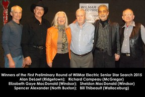 submitted photo: Winners of the first preliminary round of the 2015 WilMar Electric Senior Star Search include, from left, Alan DeLaet (Ridgetown), Richard Campeau (McGregor), Elizabeth Gaye MacDonald (Windsor), Sheldon MacDonald (Windsor), Spencer Alexander (North Buxton) and Bill Thibeault (Wallaceburg). There will be another preliminary this Friday (Feb. 20) and the finals will be held at the CBD Club on Feb. 27.