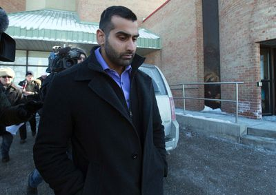 Toronto Police Const. Sameer Kara leaves the Finch Ave. Court after being released on bail after being charges in a gang sexual assault in an alleged attack on a woman last month in Toronto on Thursday February 19, 2015.  Dave Abel/Toronto Sun/QMI Agency