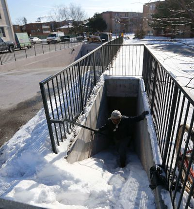 Neighbours search for missing Elijah March, a 3 year old boy who left his home on Neptune Drive in North York at 4am in freezing weather and was found dead six hours later on Thursday February 19, 2015. Michael Peake/Toronto Sun/QMI Agency