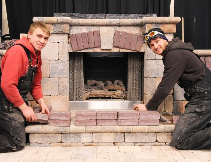 Zach Buchwald of Waterford and Delhi's Mike Jansen of Jansen Landscaping set up their display at the Simcoe Aud for the Haldimand Norfolk Home Builders and Landscapers Home Show in this photo from 2015. (JACOB ROBINSON Simcoe Reformer)