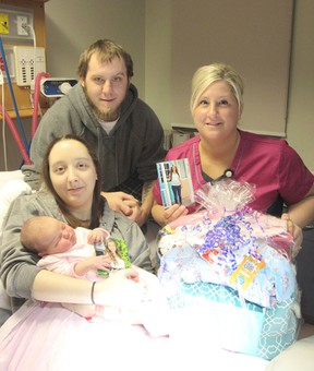 Baby Rylie Osborne with her parents Rachel Rhea and Brad Osborne, and RPN Jolene Hathaway of the CKHA. (Submitted photo)