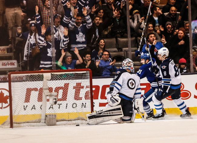Maple Leafs winger James van Riemsdyk scores in overtime against the Winnipeg Jets on Saturday night at the Air Canada Centre. (Dave Thomas/Toronto Sun)