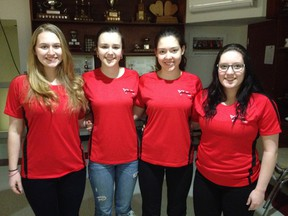 Team Smith, with lead Emma Johnson (left), second Mikaela Cheslock, vice, Kira Brunton and skip Megan Smith, waited for nearly a year to compete in the Canada Winter Games.