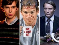 "(L-R) Freddie Highmore as Norman Bates in ""Bates Motel,"" Michael C. Hall as Dexter Morgan in ""Dexter"" and Mads Mikkelsen as Hannibal Lecter in ""Hannibal."""
