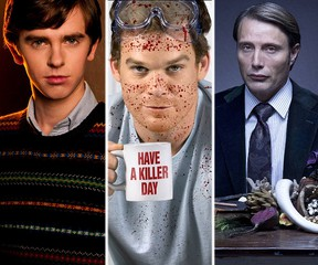 """(L-R) Freddie Highmore as Norman Bates in """"Bates Motel,"""" Michael C. Hall as Dexter Morgan in """"Dexter"""" and Mads Mikkelsen as Hannibal Lecter in """"Hannibal."""""""